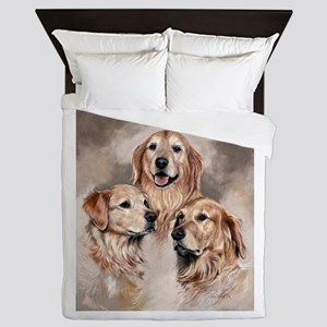 Golden Retrievers by Dawn Secord Queen Duvet