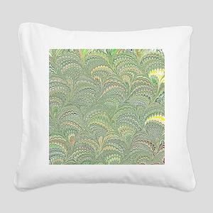 Teal Fanfair Square Canvas Pillow