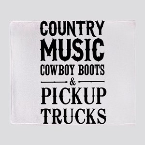 Country Music, Cowboy Boots & Pickup Trucks Throw