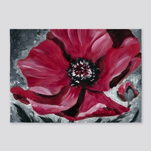 Red Flower 5'x7'Area Rug