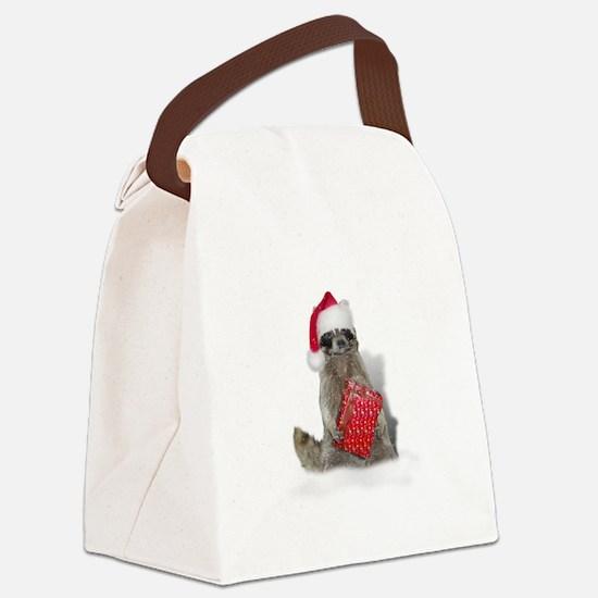 Christmas Raccoon Santa Canvas Lunch Bag