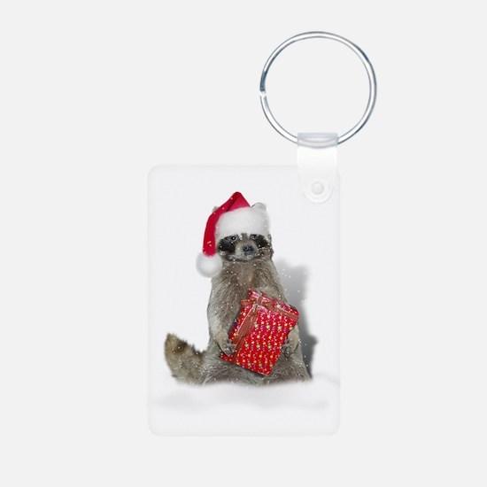 Christmas Raccoon Santa Keychains