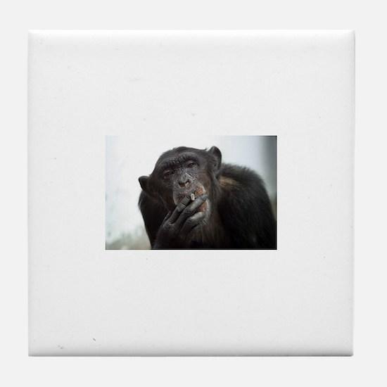 smoking monkey Tile Coaster