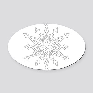Snowflake Oval Car Magnet