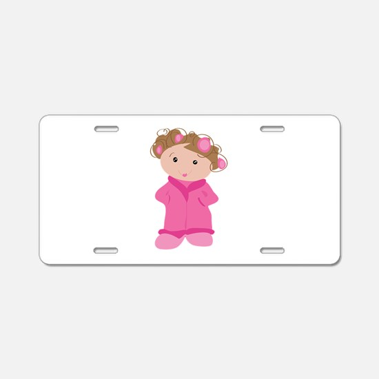 Woman In Curlers Aluminum License Plate