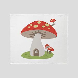 Mushroom House Throw Blanket