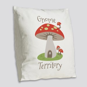Gnome Territory Burlap Throw Pillow