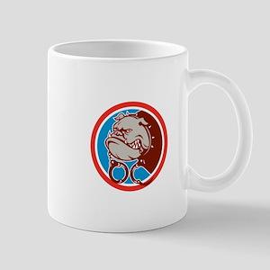 Bulldog Dog Mongrel Head Handcuffs Circle Retro Mu