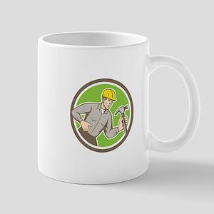Builder Carpenter Shouting Hammer Circle Retro Mug
