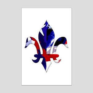 Red, white & blue Fleur de lis Mini Poster Print