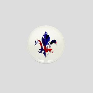 Red, white & blue Fleur de lis Mini Button
