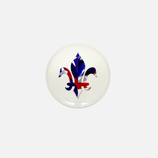 Red, white & blue Fleur de lis Mini Button
