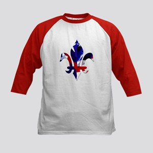 Red, white & blue Fleur de lis Kids Baseball Jerse
