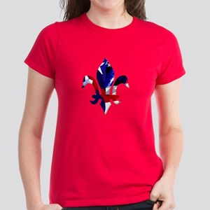 Red, white & blue Fleur de lis Women's Dark T-Shir