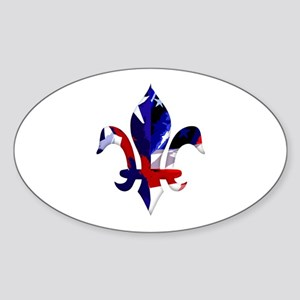 Red, white & blue Fleur de lis Oval Sticker