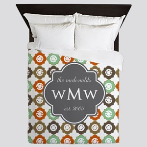 Charcoal Gray Custom Personalized Mono Queen Duvet