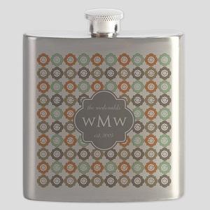 Charcoal Gray Custom Personalized Monogram Flask
