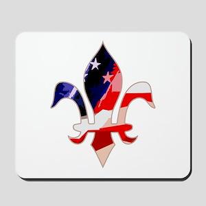 US Flag Fleur de lis Mousepad