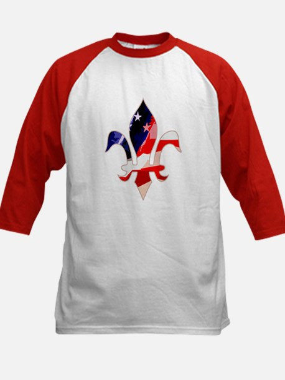 US Flag Fleur de lis Kids Baseball Jersey