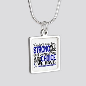 ALS HowStrongWeAre Silver Square Necklace