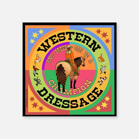 """Graphically Equine Western  Square Sticker 3"""" x 3"""""""