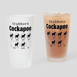 Stubborn Cockapoo v2 Drinking Glass