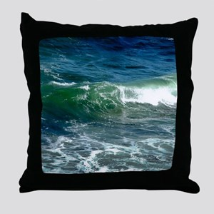 Blue Green Wave Throw Pillow