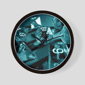 Blue Gaming Dice Wall Clock