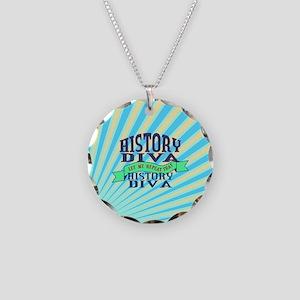 History Diva Necklace Circle Charm
