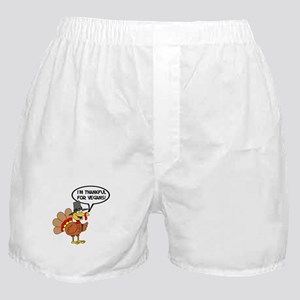Thankful For Vegans Turkey Boxer Shorts