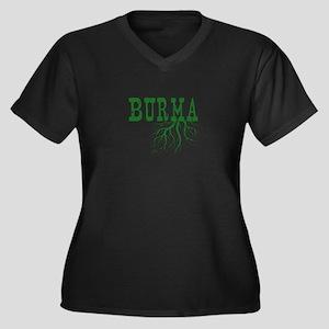 Burma Roots Women's Plus Size V-Neck Dark T-Shirt