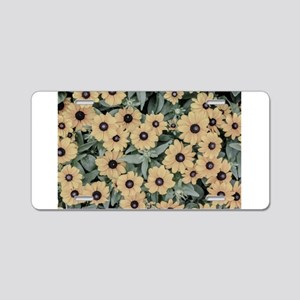 oil painted yellow flowers Aluminum License Plate