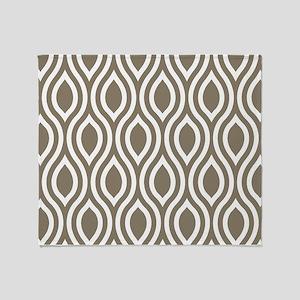 Modern Tan Ogee Pattern Throw Blanket