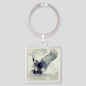Cute owl in watercolor Keychains