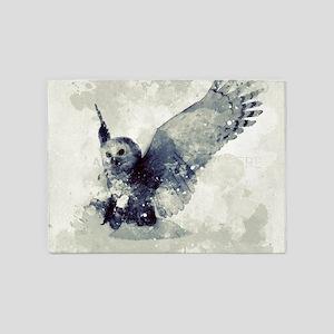 Cute owl in watercolor 5'x7'Area Rug