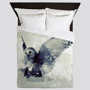 Cute owl in watercolor Queen Duvet