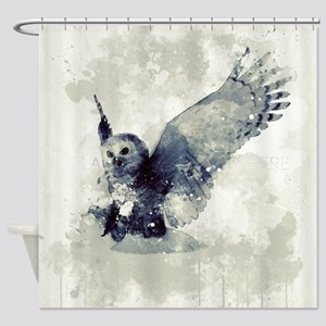 Cute owl in watercolor Shower Curtain