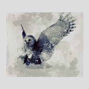 Cute owl in watercolor Throw Blanket