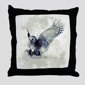 Cute owl in watercolor Throw Pillow