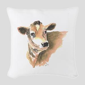 cow face 2 Woven Throw Pillow