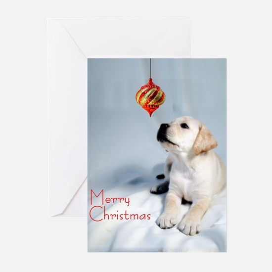 Cute Golden retriever puppy christmas Greeting Cards (Pk of 20)