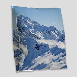 Snowy Peak Burlap Throw Pillow