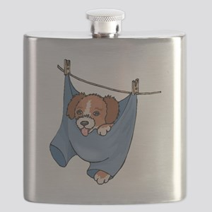 Puppy On Clothesline Flask