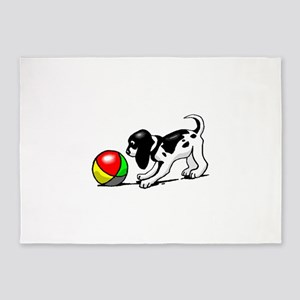Puppy With Ball 5'x7'Area Rug