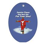 Santa Cross Ornament (Oval)