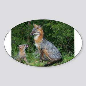 MOTHER RED FOX AND BABY Sticker