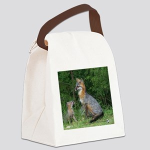 MOTHER RED FOX AND BABY Canvas Lunch Bag