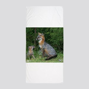 MOTHER RED FOX AND BABY Beach Towel