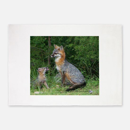 MOTHER RED FOX AND BABY 5'x7'Area Rug