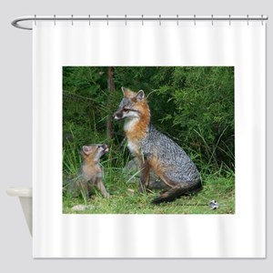 MOTHER RED FOX AND BABY Shower Curtain